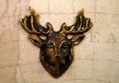 Large Antiqued Brass Elk Head Stamping (1) - ANTFF0959 Jewelry Finding