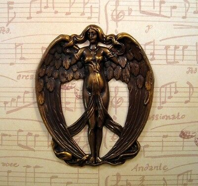 Large Antiqued Brass Victorian Angel Stamping (1) - ANTFF1133 Jewelry Finding