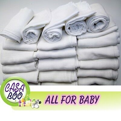 3/5 PCS WHITE BABY REUSABLE WIPES NAPPY BIBS DIAPER 70x80 MUSLIN SQUARE tetra
