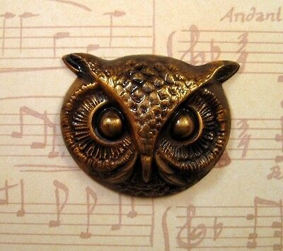 Large Antiqued Brass Owl Head Stamping (1) - ANTFF1473 Jewelry Finding