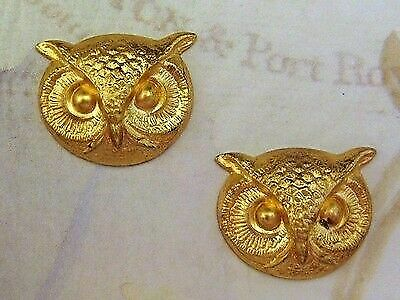 Small Raw Brass Owl Head Stampings (2) - FF1474 Jewelry Finding