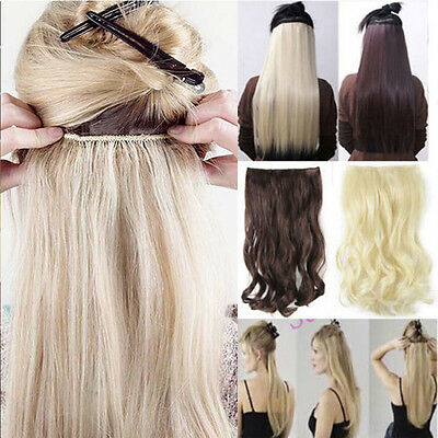 USA Long Straight/Curly/Wavy 3/4 full head Hair Extension Extensions 5clips lts