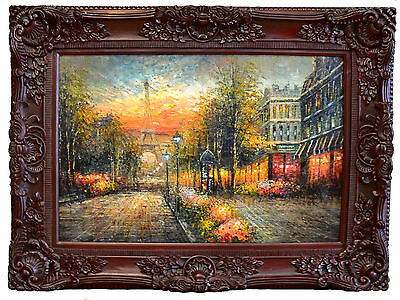 New Large Antique French Ornate Gilt Style Wall Canvas Painting Burgundy Frame