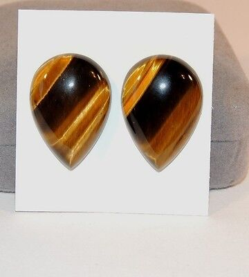 Tiger's Eye 25x17mm with 6mm dome Cabochons Set of 2 From Africa (7206)