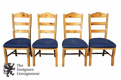4 Solid Maple French Country Style Dining Chairs Pine Slats Farm House Seats