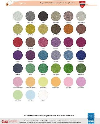 """SISER GLITTER HTV 20"""" x 1 Foot (27 Colors to choose from)"""