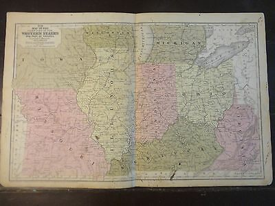 1850 Hand Colored Engraved Map of the Chief Part of the Western States