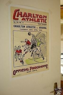 Charlton Arsenal Pre War Poster of Programme NEW