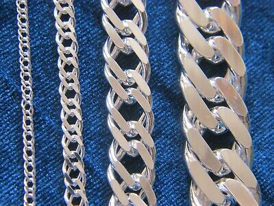 925 Sterling Silver Solid Real Men Classy Double Cuban Curb Link Chain Necklace