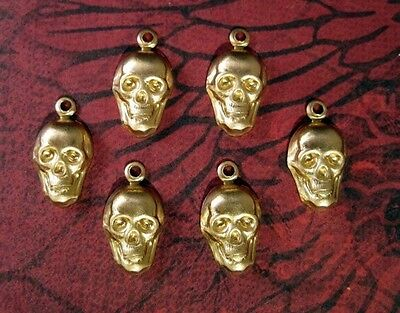 Small Raw Brass Skull Charms (6) - FF3313-1 Jewelry Finding