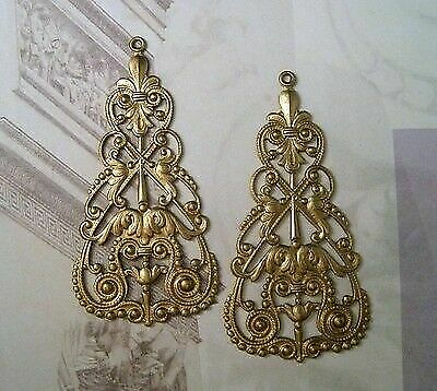 Large Raw Brass Nouveau Filigree Dangle Stampings (2) - FF3412-3 Jewelry Finding