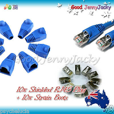 10x Shielded RJ45 Network Cable Plugs + Protective Boots Caps Cover Cat5 5e 6