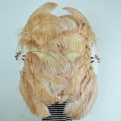 "A pair Wheat Single-layer Ostrich Feather fan 24""x41"" burlesque dancer"