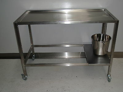 STAINLESS STEEL DISSECTING / AUTOPSY TABLE PREP BENCH 1200mm £350+vat ASSEMBLED