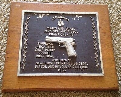 Maryland State 1956  Revolver And Pistol Championship  .45  2nd Place Plaque