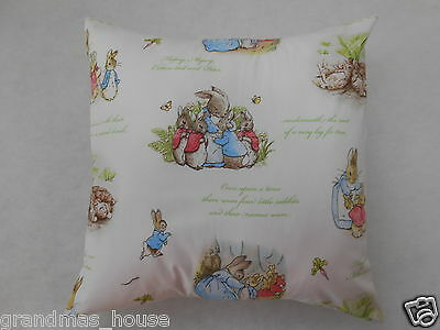 Peter Rabbit Cushion Cover White - 40x40cm - Perfect Handmade Gift!!
