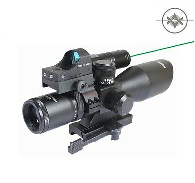 Vector Optics 2.5-10x40 Scope with Green Laser, Reflex Sight & Mount Combo