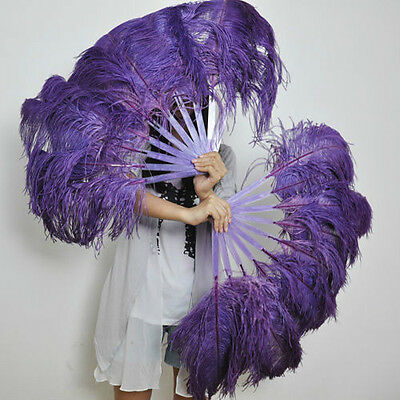 "A pair Dark Purple Single-layer Ostrich Feather fan 24""x41"" burlesque dancer"