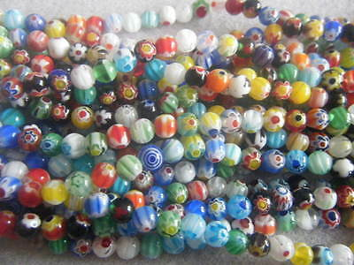 1 String Approx 65 Round Millefiori Mixed 6mm Beads Assorted Single Flower