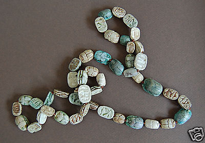 Long Antique EGYPTIAN SCARAB NECKLACE  (47 Scarabs) - Faience             (4B18)