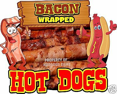 """Hot Dogs Bacon Wrapped Decal 14"""" HotDogs Concession Food Truck Cart Sticker"""