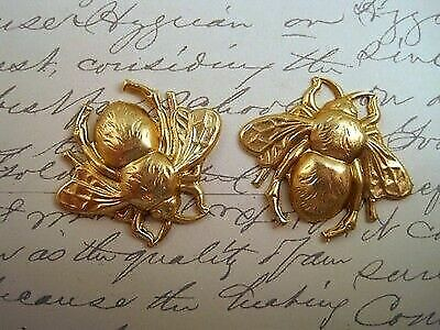 Raw Brass Bee Stampings (2) - RAT113 Jewelry Finding
