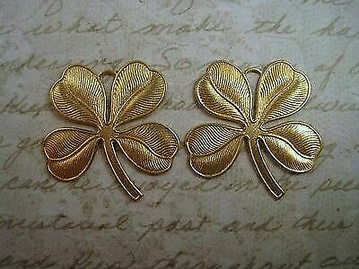 Large Raw Brass Shamrock Charm Stampings (2) - RAT2522R Jewelry Finding