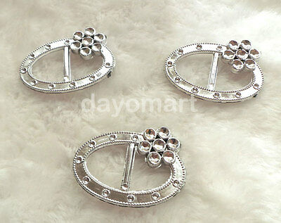 20pcs Acrylic Silver Oval Flowery Ribbon Slides Buckle Ribbon Sliders for Craft