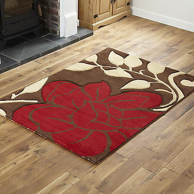 Large Medium Small Floral Carved Modern Rug Contemporary Red Brown Design Rugs