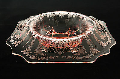 RARE CAMBRIDGE GLASS PINK DIANE ETCHED ELEGANT 3400/2 4 FOOTED CONSOLE BOWL