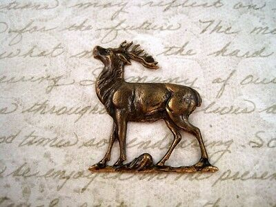 Large Antiqued Brass Deer Stamping (1) - ANTRAT3620 Jewelry Finding