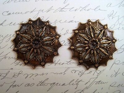 Large Antiqued Brass Filigree Stampings (2) - ANTRAT3630 Jewelry Finding