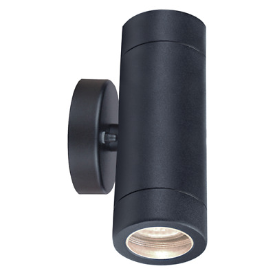 Powder Coated Black Up and Down Twin Outdoor Wall Light 2 x 35w Bulbs FREE IP65