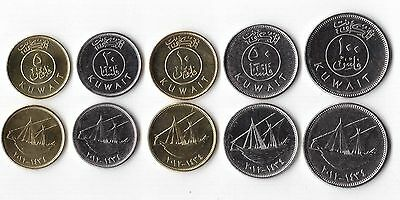 KUWAIT - NEW ISSUE 5 DIF UNC COINS SET: 5 - 100 FILS 2012 YEAR SHIPS