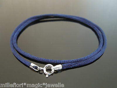 """2mm Black Silk Style Cord Necklace Sterling Silver Fittings /& Clasp 16/"""" 41cm"""