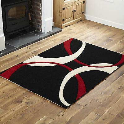 Modern Small X Large Quality Rugs - Black Red Wave Design Comfortable Carpet Rug