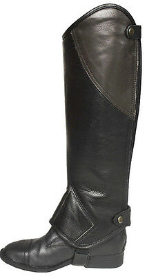 Adult  Black and Brown smooth Faux Leather  half chaps #6872
