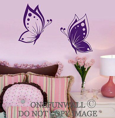 1 Set of 2 Colorful Butterflies Vinyl Wall Decal Sticker Decor Choose Color