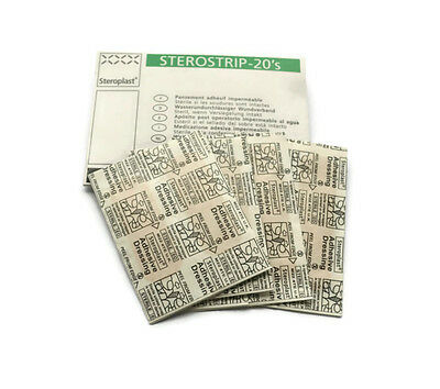 20 Washproof Adhesive Plasters Sterostrip Assorted in Handy Pack