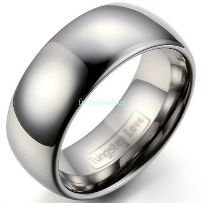 8mm Polished Comfort Fit Dome Tungsten Carbide Ring Men's Engagement Bands