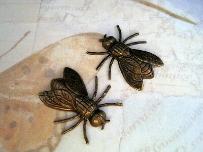 Large Antiqued Brass Fly Stampings (2) - ANTRAT3819 Jewelry Finding