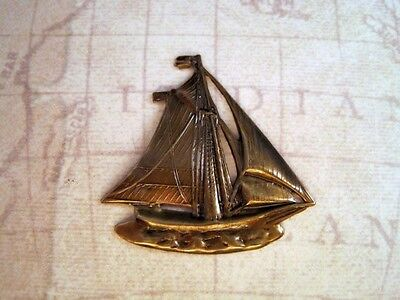Large Antiqued Brass Sailboat Stamping (1) - ANTRAT3852 Jewelry Finding