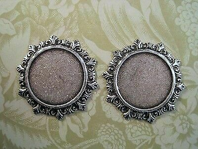 Large Victorian Oxidized Silver Plated Plaque Stampings (2) SORAT4237