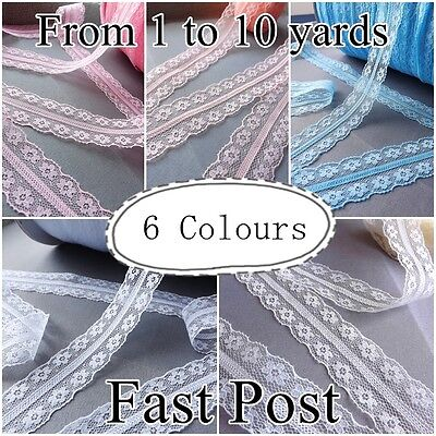 VINTAGE LACE RIBBON TRIM white blue pink  25mm BRIDAL Flowers craft cards gifts