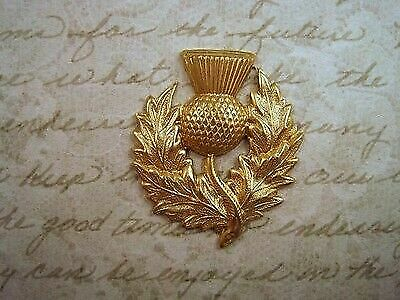 Large Raw Brass Scottish Thistle Stamping (1) - RAT4663 Jewelry Finding
