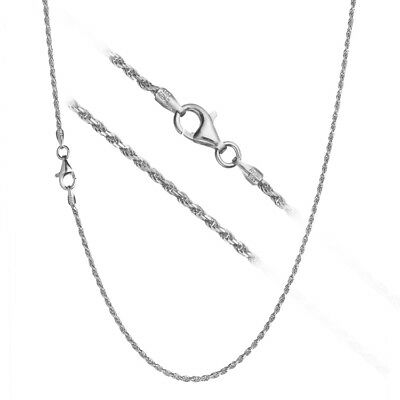 Solid 925 Sterling Silver 1.2mm Italian Diamond Cut Twisted Rope Chain Necklace