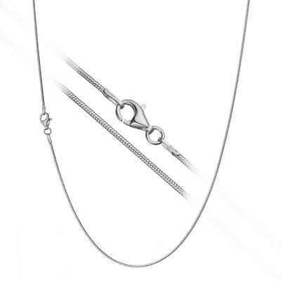 Solid 925 Sterling Silver 1.2mm Classic Italian Round Snake Chain Necklace