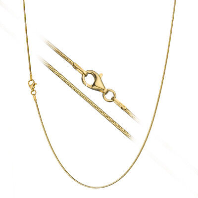 18K Gold over Sterling Silver 1.2mm Classic Italian Round Snake Chain Necklace