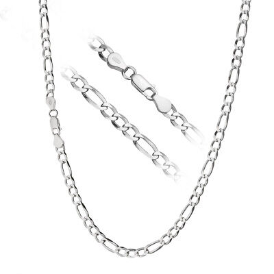 Solid 925 Sterling Silver Men's Italian 5mm Figaro Link Chain Necklace ALL SIZES