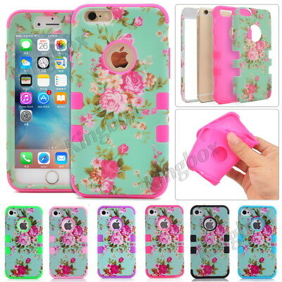 Heavy Duty Shockproof Rubber Matte Floral Hybrid Case For iPhone 4 4S 5 5S 5C 6